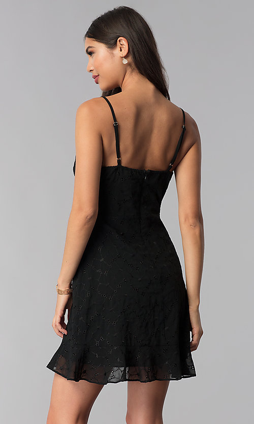 Image of ruffled short black chiffon party dress with keyhole. Style: STO-SD1535 Back Image