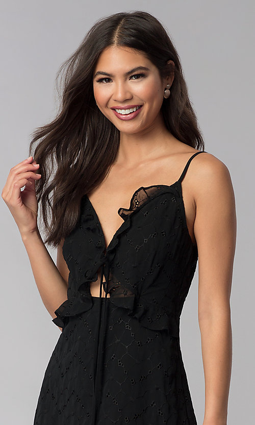 Image of ruffled short black chiffon party dress with keyhole. Style: STO-SD1535 Detail Image 1