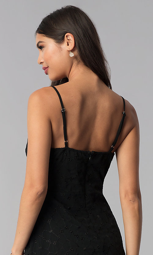 Image of ruffled short black chiffon party dress with keyhole. Style: STO-SD1535 Detail Image 2