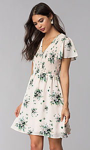 Image of short-sleeve floral-print short pink casual dress. Style: ESL-63010D-P Front Image