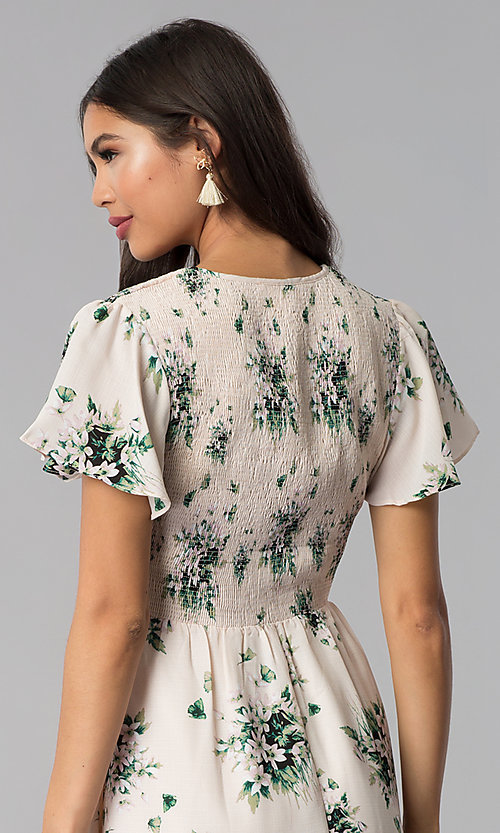 Image of short-sleeve floral-print short pink casual dress. Style: ESL-63010D-P Detail Image 2