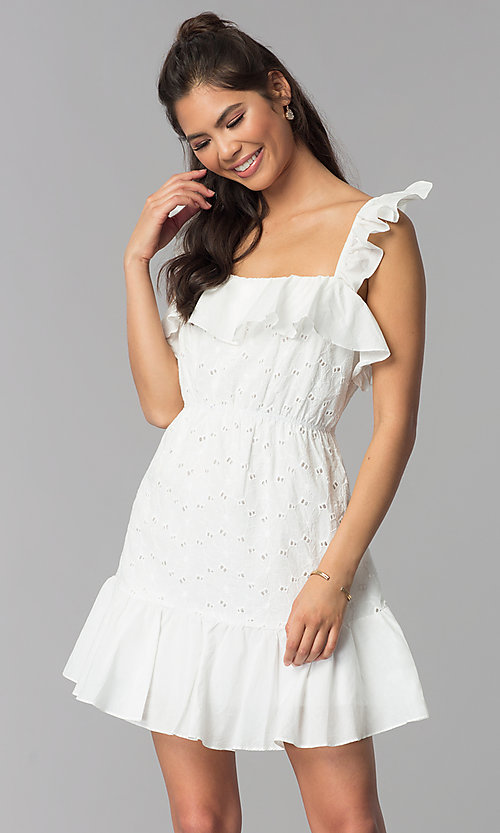 Image of short white graduation party eyelet-lace dress. Style: ESL-62471D-R Front Image