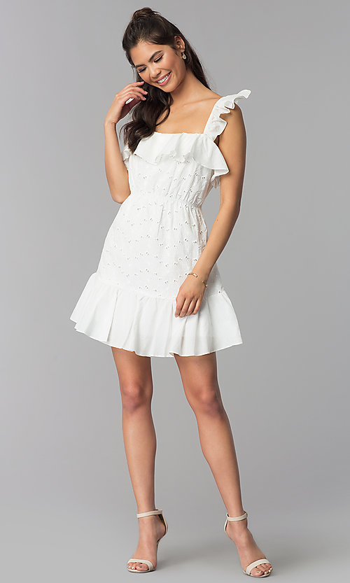 Image of short white graduation party eyelet-lace dress. Style: ESL-62471D-R Detail Image 3