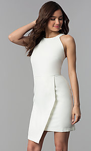 Image of faux-wrap short white graduation party dress. Style: ESL-62227D-K Front Image