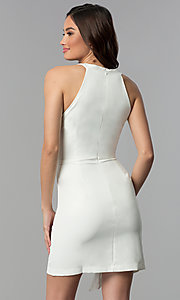 Image of faux-wrap short white graduation party dress. Style: ESL-62227D-K Back Image