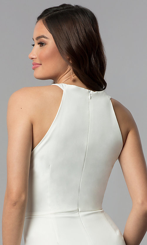 Image of faux-wrap short white graduation party dress. Style: ESL-62227D-K Detail Image 2