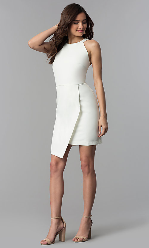 Image of faux-wrap short white graduation party dress. Style: ESL-62227D-K Detail Image 3