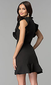 Image of short casual cruise party dress with ruffles. Style: ESL-62138D-K Back Image