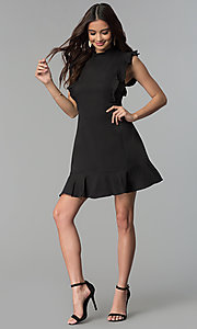 Image of short casual cruise party dress with ruffles. Style: ESL-62138D-K Detail Image 2