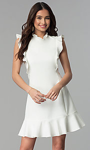 Image of short casual cruise party dress with ruffles. Style: ESL-62138D-K Detail Image 3