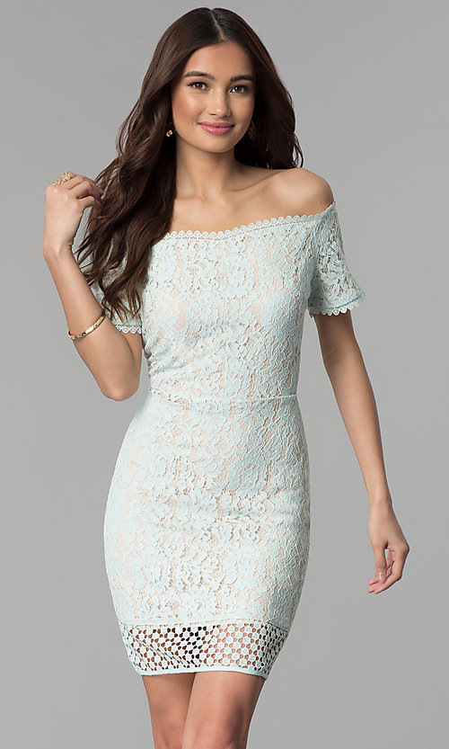 6e1918836 Image of crocheted-hem off-shoulder short lace party dress. Style: ESL