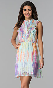 Image of short multicolored chiffon party dress with ruffles. Style: ESL-62171D-K Front Image