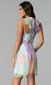 Image of short multicolored chiffon party dress with ruffles. Style: ESL-62171D-K Back Image
