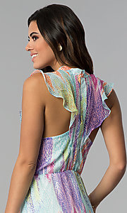 Image of short multicolored chiffon party dress with ruffles. Style: ESL-62171D-K Detail Image 2