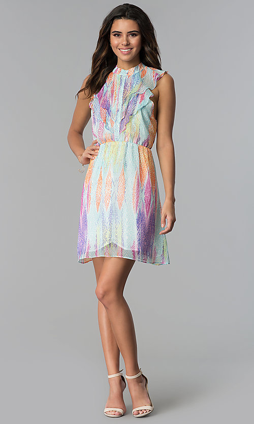 Image of short multicolored chiffon party dress with ruffles. Style: ESL-62171D-K Detail Image 3