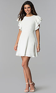 Image of short graduation party dress with flutter sleeves. Style: ESL-62711D-Y Detail Image 2
