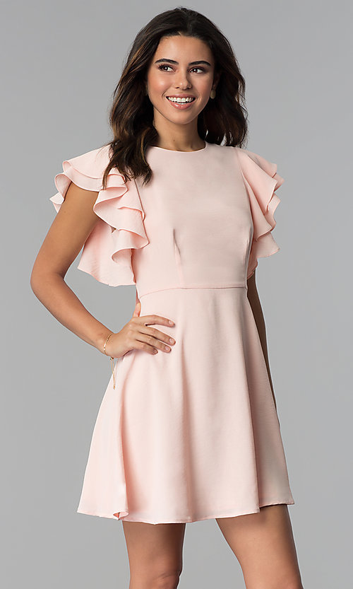 Image of short graduation party dress with flutter sleeves. Style: ESL-62711D-Y Detail Image 3