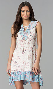 Image of print short white casual dress with blue ruffles. Style: ESL-62968D-P Front Image