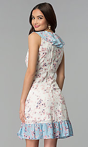 Image of print short white casual dress with blue ruffles. Style: ESL-62968D-P Back Image