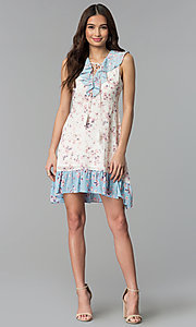 Image of print short white casual dress with blue ruffles. Style: ESL-62968D-P Detail Image 3