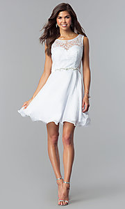 Image of short white lace-bodice graduation party dress. Style: FB-GS2314wh Detail Image 1