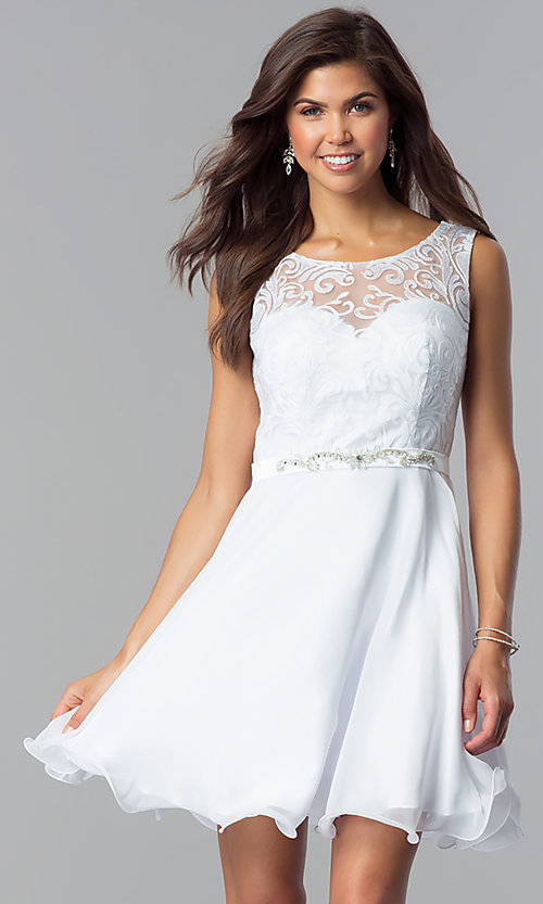Image of short white lace-bodice graduation party dress. Style: FB-GS2314wh Front Image