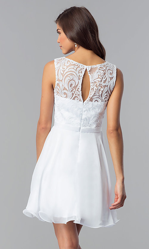 Image of short white lace-bodice graduation party dress. Style: FB-GS2314wh Back Image