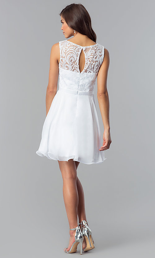 Image of short white lace-bodice graduation party dress. Style: FB-GS2314wh Detail Image 2