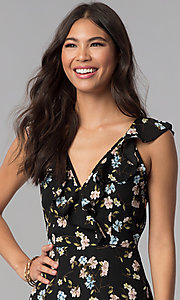 Image of wedding-guest short v-neck floral-print black dress. Style: RO-R67499-1 Detail Image 1
