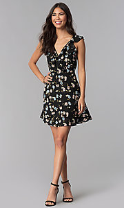 Image of wedding-guest short v-neck floral-print black dress. Style: RO-R67499-1 Detail Image 3