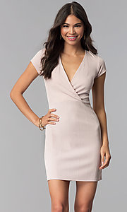 Image of short pink v-neck day-to-night dress with sleeves. Style: RO-R68214 Front Image