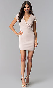 Image of short pink v-neck day-to-night dress with sleeves. Style: RO-R68214 Detail Image 3