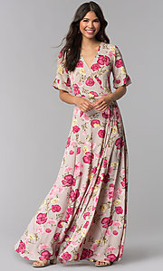 Image of floral-print long wrap mauve dress with sleeves. Style: RO-R68195 Front Image