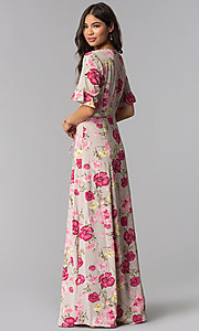 Image of floral-print long wrap mauve dress with sleeves. Style: RO-R68195 Back Image