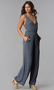 Image of open-back casual long grey jumpsuit with pockets. Style: RO-R68115-1 Front Image