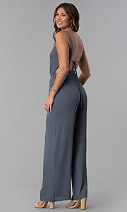 Image of open-back casual long grey jumpsuit with pockets. Style: RO-R68115-1 Back Image