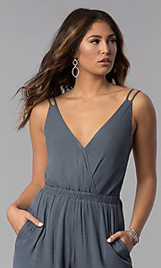 Image of open-back casual long grey jumpsuit with pockets. Style: RO-R68115-1 Detail Image 1