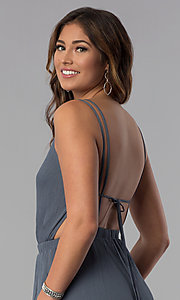 Image of open-back casual long grey jumpsuit with pockets. Style: RO-R68115-1 Detail Image 2