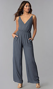 Image of open-back casual long grey jumpsuit with pockets. Style: RO-R68115-1 Detail Image 3