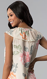 Image of short floral-print shift party dress with ruffle. Style: RO-R66749 Detail Image 2