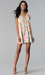 Image of short floral-print shift party dress with ruffle. Style: RO-R66749 Detail Image 3