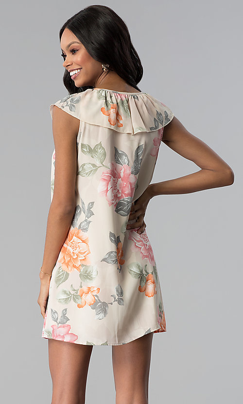 Image of short floral-print shift party dress with ruffle. Style: RO-R66749 Back Image