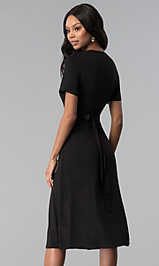 Image of faux-wrap sleeved short black wedding-guest dress. Style: RO-R66609 Back Image