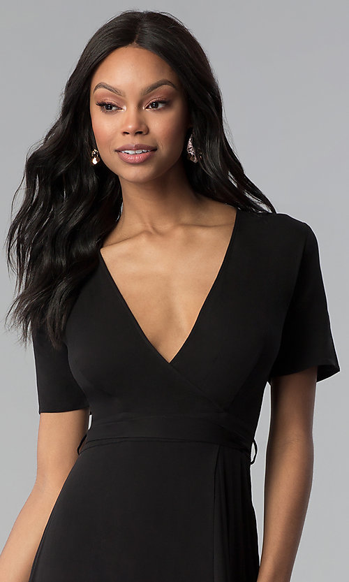 Image of faux-wrap sleeved short black wedding-guest dress. Style: RO-R66609 Detail Image 1