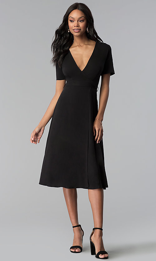 Image of faux-wrap sleeved short black wedding-guest dress. Style: RO-R66609 Detail Image 3