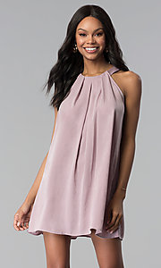 Image of sleeveless short casual pink shift party dress. Style: RO-R66988 Front Image