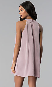 Image of sleeveless short casual pink shift party dress. Style: RO-R66988 Back Image