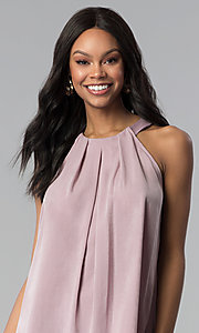 Image of sleeveless short casual pink shift party dress. Style: RO-R66988 Detail Image 1