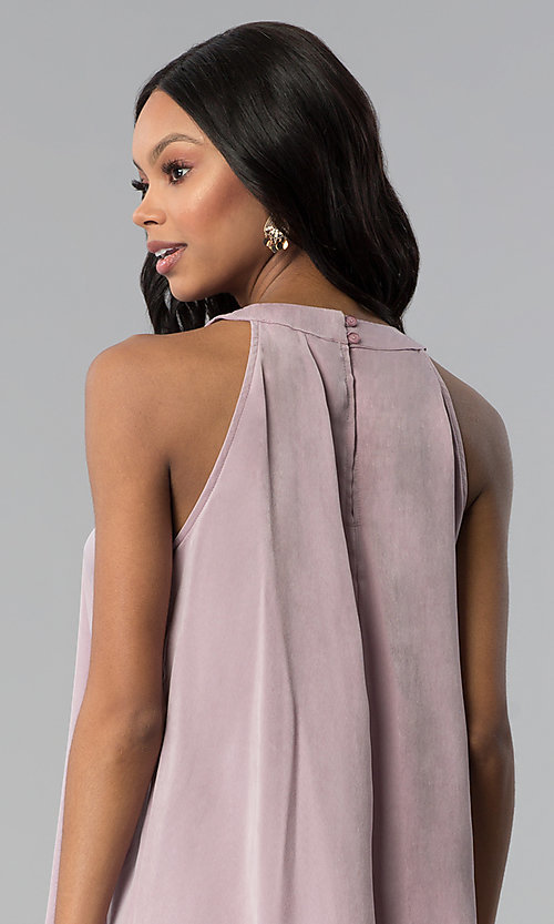 Image of sleeveless short casual pink shift party dress. Style: RO-R66988 Detail Image 2