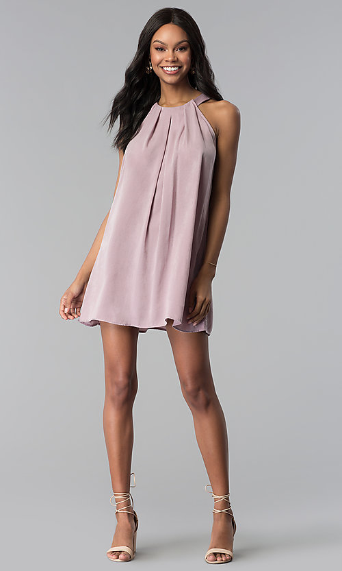 Image of sleeveless short casual pink shift party dress. Style: RO-R66988 Detail Image 3
